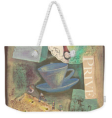 Weekender Tote Bag featuring the painting Don't Be Blue by Mini Arora