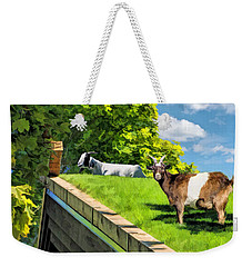 Door County Al Johnsons Swedish Restaurant Goats Weekender Tote Bag by Christopher Arndt