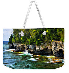 Door County Cave Point Cliffs Weekender Tote Bag