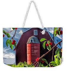 Door County Cherry Harvest Red Barn Weekender Tote Bag