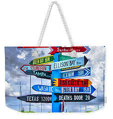 Door County Directional Sign In Egg Harbor Weekender Tote Bag