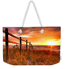 Door County Europe Bay Fence Sunrise Weekender Tote Bag