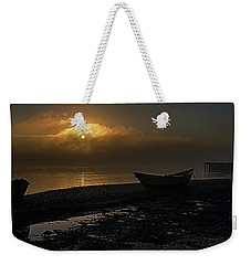 Weekender Tote Bag featuring the photograph Dories Beached In Lifting Fog by Marty Saccone