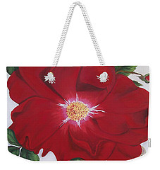 Weekender Tote Bag featuring the painting Dortmund Climber Rose by Sharon Duguay
