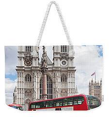 Double-decker Buses Passing Weekender Tote Bag by Panoramic Images