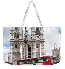 Double-decker Buses Passing Weekender Tote Bag