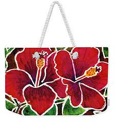 Double Hibiscus Weekender Tote Bag