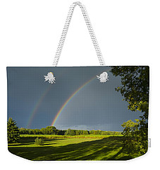 Double Rainbow Over Fields Weekender Tote Bag