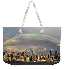 Double Rainbow Over Nyc Weekender Tote Bag by Susan Candelario
