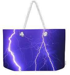 Double Triple Blue Lightning Weekender Tote Bag