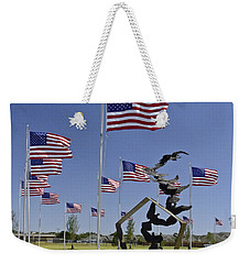 Weekender Tote Bag featuring the photograph Doves And Flags by Allen Sheffield