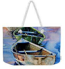 Weekender Tote Bag featuring the painting Down East Dories At Dawn by Hanne Lore Koehler