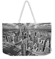 Downtown Chicago Aerial Black And White Weekender Tote Bag by Adam Romanowicz