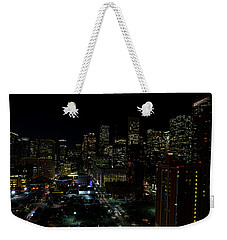 Downtown Houston At Night Weekender Tote Bag by Judy Vincent
