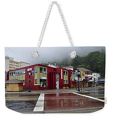 Weekender Tote Bag featuring the photograph Downtown Juneau On A Rainy Day by Cathy Mahnke
