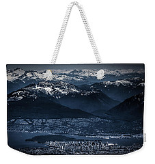 Downtown Vancouver And The Mountains Aerial View Low Key Weekender Tote Bag by Eti Reid