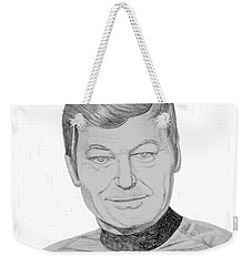 Weekender Tote Bag featuring the drawing Dr. Leonard Mccoy by Thomas J Herring