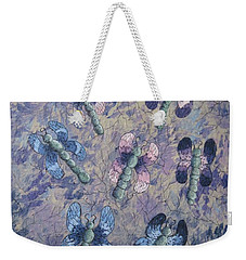 Weekender Tote Bag featuring the painting Dragon Fly Blues by Megan Walsh