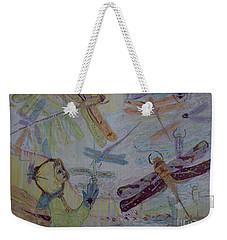 Dragonflies In Winter Weekender Tote Bag by Avonelle Kelsey