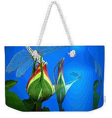 Weekender Tote Bag featuring the photograph Dragonfly And Bud On Blue by Joyce Dickens