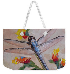 Dragonfly And Flower Weekender Tote Bag