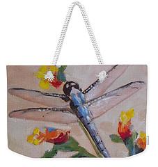 Dragonfly And Flower Weekender Tote Bag