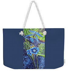 Dragonfly Hunt For Food In The Flowerhead Weekender Tote Bag