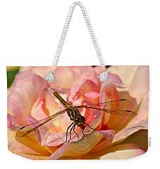 Dragonfly On A Rose Weekender Tote Bag