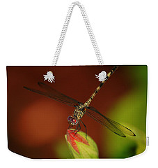 Weekender Tote Bag featuring the photograph Dragonfly On Hibiscus by Leticia Latocki