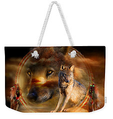 Dream Catcher - Wolfland Weekender Tote Bag by Carol Cavalaris