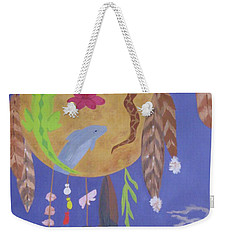 Weekender Tote Bag featuring the painting Dream Spirit Shield by Ellen Levinson