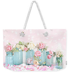 Dreamy Shabby Chic Pink White Roses  - Vintage Aqua Teal Ball Jars Romantic Floral Roses  Weekender Tote Bag