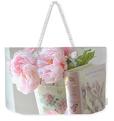 Dreamy Shabby Chic Pink Peonies And Books - Romantic Cottage Peonies Floral Art With Pink Books Weekender Tote Bag by Kathy Fornal
