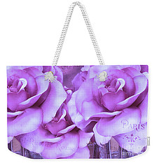 Dreamy Shabby Chic Purple Lavender Paris Roses - Dreamy Lavender Roses Cottage Floral Art Weekender Tote Bag
