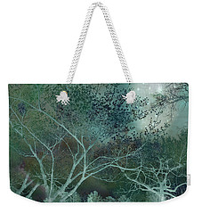 Dreamy Surreal Fantasy Teal Aqua Trees Nature  Weekender Tote Bag by Kathy Fornal