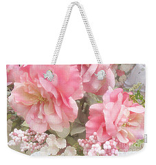 Dreamy Vintage Cottage Shabby Chic Pink Roses - Romantic Roses Weekender Tote Bag