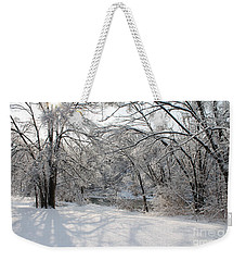 Weekender Tote Bag featuring the photograph Dressed In Snow by Nina Silver
