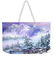 Weekender Tote Bag featuring the painting Dressed In White Mount Shuksan by Sherry Shipley