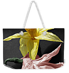 Weekender Tote Bag featuring the photograph Dried Daffodils by Nina Silver