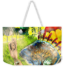 Weekender Tote Bag featuring the mixed media Drifting Away by Ally  White