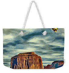 Weekender Tote Bag featuring the painting Drifting Over Monument Valley by Jeff Kolker