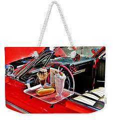 Weekender Tote Bag featuring the photograph Drive-in Diner by Jean Goodwin Brooks
