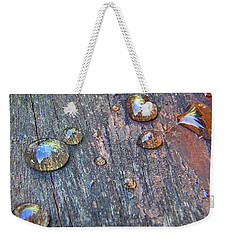 Drops On Wood Weekender Tote Bag