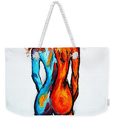 Weekender Tote Bag featuring the painting Duality by Ramona Matei
