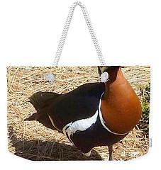 Duck Brown White Black Weekender Tote Bag by Susan Garren