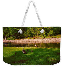 Duck Family Getting Back From Pond Weekender Tote Bag
