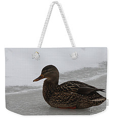 Weekender Tote Bag featuring the photograph Duck On Ice by John Telfer