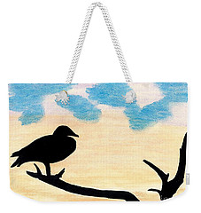 Weekender Tote Bag featuring the drawing Duck Sunset by D Hackett