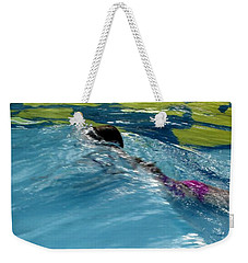 Ducking Under A Wave In A Pool Weekender Tote Bag by Kerri Mortenson