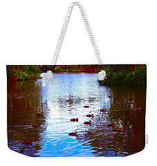 Weekender Tote Bag featuring the photograph Ducks  by Mark Blauhoefer